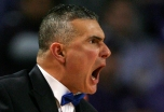 Kansas State head coach Frank Martin yells at an official during a time out in the second half of an NCAA college basketball game against Iowa State Saturday, Feb. 25, 2012, in Manhattan, Kan. Iowa State won 65-61. (AP Photo/Ed Zurga)